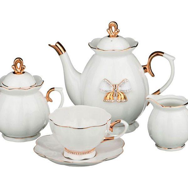 Чайный сервиз на 6 персон со стразами